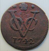 1742 NETHERLANDS EAST INDIES , Copper Duit grading VERY FINE.