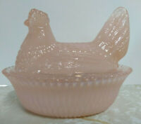 Boyd 5 Inch Pink Glass Chicken/Hen on Nest Dish From Boyds 1st 5 years