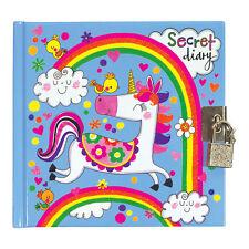 Unicorn & Rainbow Secret Diary – Notebook Girls Childrens Rachel Ellen Designs