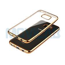 Funda gel / TPU Samsung G935F Galaxy S7 Edge transparente borde metalizado dorad