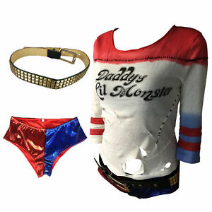 Cosplay Suicide Squad Costume Harley Quinn T-shirt Pants Belt Full Set Halloween