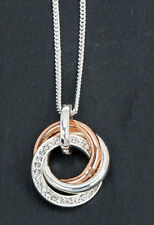 2 Tone Triple Ring Necklace Clear Diamante