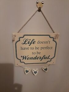Home life wonderful Shabby Chic Cottage Core wooden hanging plaque heart bunting