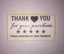 100 Thank You For Your Purchase / Order 5 Star Feedback Stickers Labels