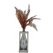 Artificial Plastic Indoor Foliage Fern Plant Leaves with Vase Included