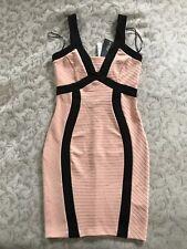 ❤️ NWT Stunning JANE NORMAN Pink Nude Beige Rib Cut Out Back Dress UK10 Size 36