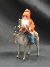 Antique/Vintage German Santa Riding German Putz Donkey, Both Signed, Vgc, Nr