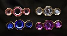 Wholesale lot 50 brooches 3 stone pins gold tone, blue, pink, clear, and purple