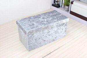 Silver Velvet ottoman storage box with diamonte double size