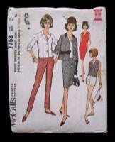 McCall's Pattern 7758 Misses Jacket Skirt Dress Top Pants - Size 16 - New Uncut