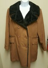 Vintage Size 16.5 Brown Trench Coat Black Fur Collar Union Made in Usa
