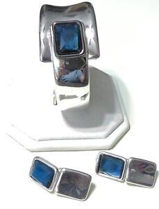 Robert Lee Morris RLM Soho Blue Stone Abstract Clamper Bracelet Earrings Set