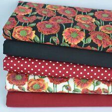 Divine Poppy  5 piece fat quarter bundle 100% cotton fabric for sewing / craft