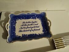 "I. Godinger Co., Blue & White Porcelain Tray, Dish, Decoration, Handles, ""Tis"""