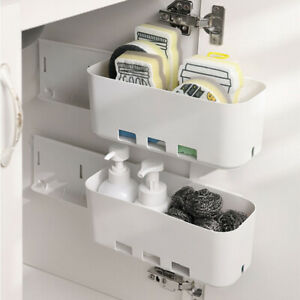 Kitchen Cabinet Retractable Drawer Type Storage Rack Multi-function Hole free p