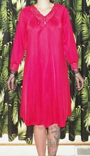 Vintage Burgundy Red Shadowline Nightgown S pinup sleepwear nightie pajamas lace
