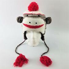 Sock Monkey Ear Flap Tassel Knit Toboggan Cap Hat with Poly Fleece Lining