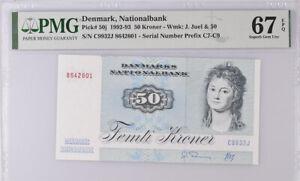 Denmark 50 Kroner 1992-1993 P 50 j Superb Gem UNC PMG 67 EPQ HIGH