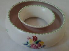 Poole Pottery Hand painted Posy Ring Artist Signed No 186 - Pale Green border.