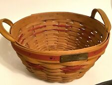 Longaberger 1999 Edition Christmas Collection Red Popcorn Basket Leather Handles