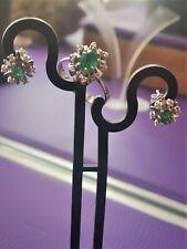 Auffallender Weissgold Ring und Ohrstecker 585 mit Smaragd und Diamanten