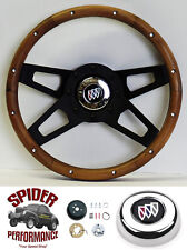 "1973-1987 Regal steering wheel BUICK 13 1/2"" WALNUT 4 SPOKE black"