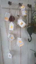 HOME KONTOR Lichterkette 8x LED Haus Holz weiß Landhaus 100cm Vintage Top Neu