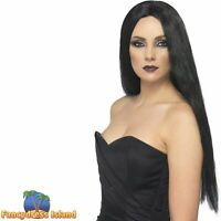 Witch Wig Black Halloween 61cm Long Straight Adult Women's Fancy Dress Costume