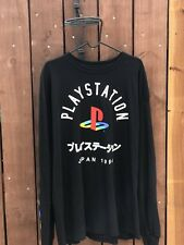 Playstation  Japanese Print Men's Size XL Black Long Sleeve T-Shirt Rare