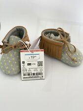ZARA MINI BABY NEWBORN boots shoes fringes grey stars unisex  0 - 0 1/2 new 4743