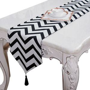 Newly Table Runner Black White Striped Party Banquet Venue Mat Cloth Decoration