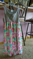 Emily West Girls Hi Lo Dress Size XL 14/16 - Gray/Pinks/Green  floral pattern