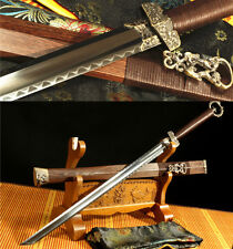 1095 CARBON STEEL DOUBLE SIDED CLAY TEMPERED BLADE  CHINESE HUAN SHOU  环首剑 SWORD