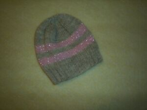 Hand knitted baby girls hat