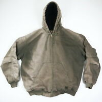 Destroyed Sun Faded Overdyed Canvas Hooded Jacket Grunge Workwear Distressed 2XL