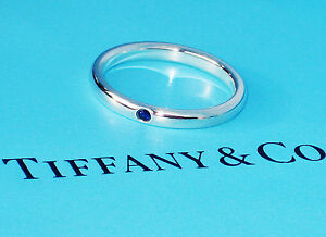 Tiffany & Co Sterling Silver Blue Sapphire Ring Elsa Peretti STACKING Band ring