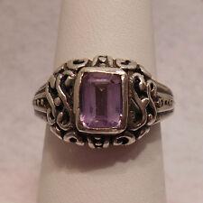 Vintage Antique Estate~Amethyst 925 Sterling Silver Ornate Filigree Ring Size 7