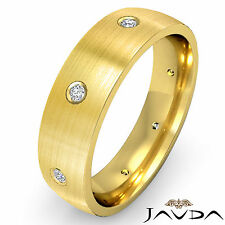 Round Diamond Mens Ring 18k Yellow Gold Center Brush Eternity Wedding Band 0.1Ct