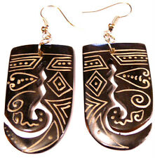 BOUCLES D'OREILLES CORNE OS ETHNIQUE BIJOUX HORN BONE EARRINGS TRIBAL