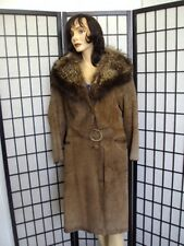 MINT BROWN SUEDE COAT WITH RACCOON RACOON FUR COLLAR WOMEN WOMAN SIZE 4 PETITE