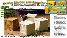 WOODEN BOXES/CRATES-Lg(4pcs) Scale Model Masterpieces HO Fine Craftsman Detail