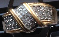 14K ART DECO COCKTAIL DIAMOND PINKIE RING Multi Tone Gold size 4.5/4.9 grams