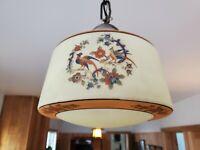 "Antique Moe Bridges Arts Crafts Painted Birds Hanging Lamp Shade 4"" Fitter"