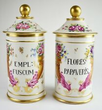 """Antique Pair of 11"""" French Hand Painted Porcelain Apothecary Jars  TE-1 / 2"""