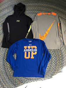 Boy's Nike, Under Armour Hooded Shirt lot (3) Large L