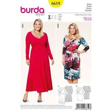 Burda Sewing Pattern 6619 Size 18W-28W Women's Wrap Dress,Bell or Narrow Skirt