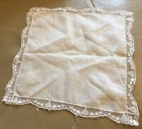 Antique Lawn Handkerchief Hanky Embroidered Lace Scalloped Edge Hand Sewn