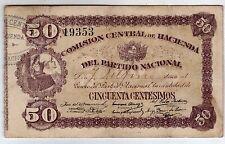 URUGUAY PARTIDO NACIONAL  COMISION CENTRAL DE HACIENDA 50 CENTESIMOS, NICE