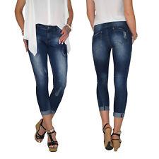 Damen Stretch High Waist 7/8 Skinny 3/4 Capri Röhren Jeans Hose Übergröße E86
