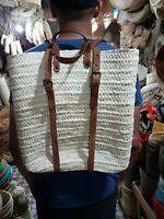 NEW Handmade Moroccan Straw Backpack Bag Shoulder Beach Travel Woven Casual Boho